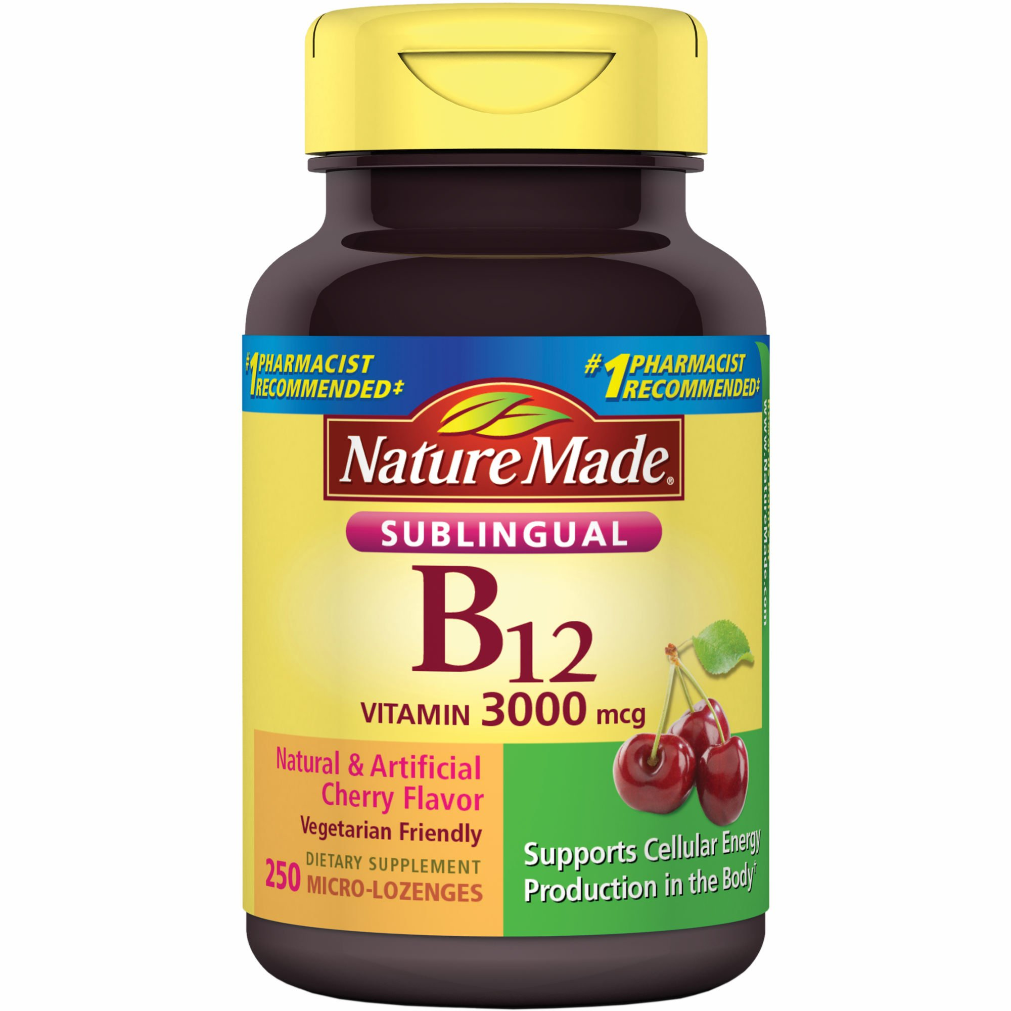 Nature Made Sublingual Vitamin B12 3000 mcg. Cherry Flavored Lozenges, 1 Pack, 250 Count ...