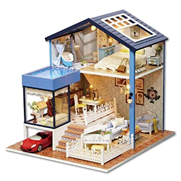 Casas de muñecas Miniatura de Bricolaje de Habitaciones con LED Kit de construcción de Madera-Modelo Juego de construcción Mini-Casa Crafts para los Regalos a Amigos y Familiares: Amazon.es: Hogar
