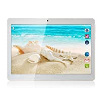 10 inch Tablet Android 7.0 Tablets PC Octa Core Dual sim Card Phone Call GPS Bluetooth 64G ROM 4G RAM 8 9 7 3G+WiFi Metal Back Cover Silvery 10.6