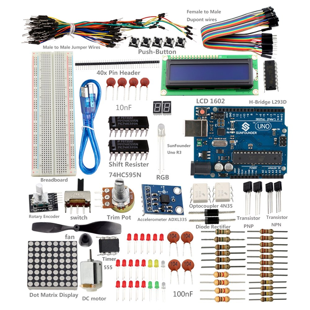 SunFounder New Uno R3 Project Super Starter Kit For Arduino UNO R3 Mega2560 Mega328 Nano - Including 73 Page Instructions Book
