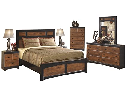 Ashley Aimwell 6 PC Queen Panel Bedroom Set With 2 Nightstand U0026 Chest In Dark  Brown