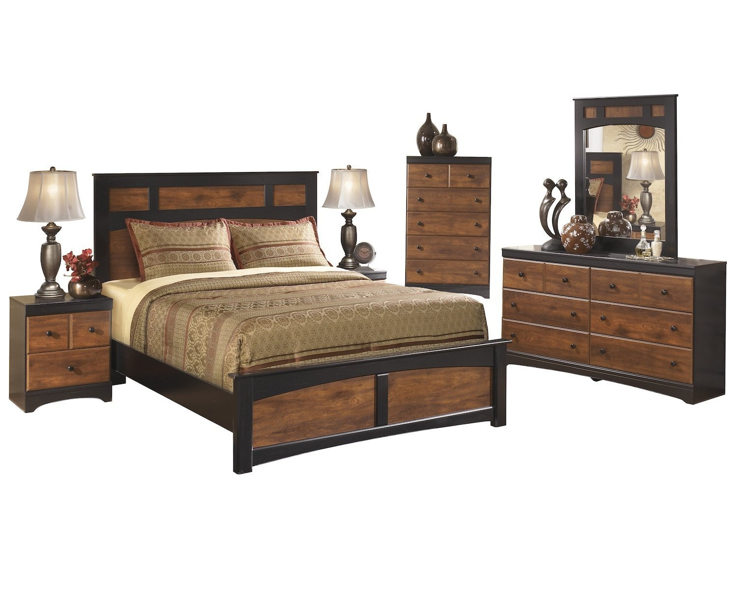 Ashley Aimwell 6 PC Queen Panel Bedroom Set with 2 Nightstand & Chest in Dark Brown