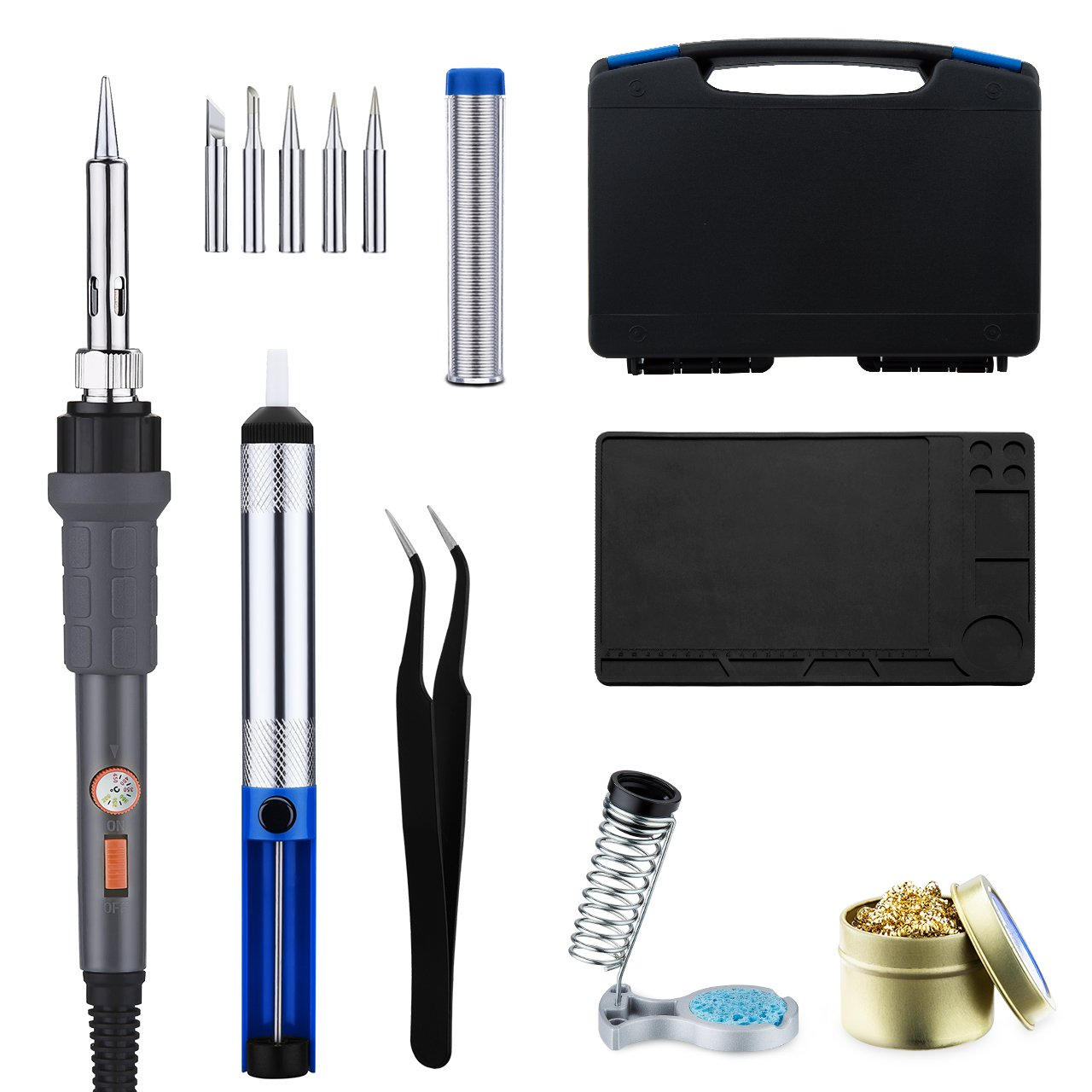 TOPELEK Soldering Iron Kit, TopElek 60W Adjustable Temperature Soldering Iron Set with ON/OFF Switch, 5pcs Soldering Tips, Desoldering Pump, Soldering Iron Stand, Tweezers, Carry Case