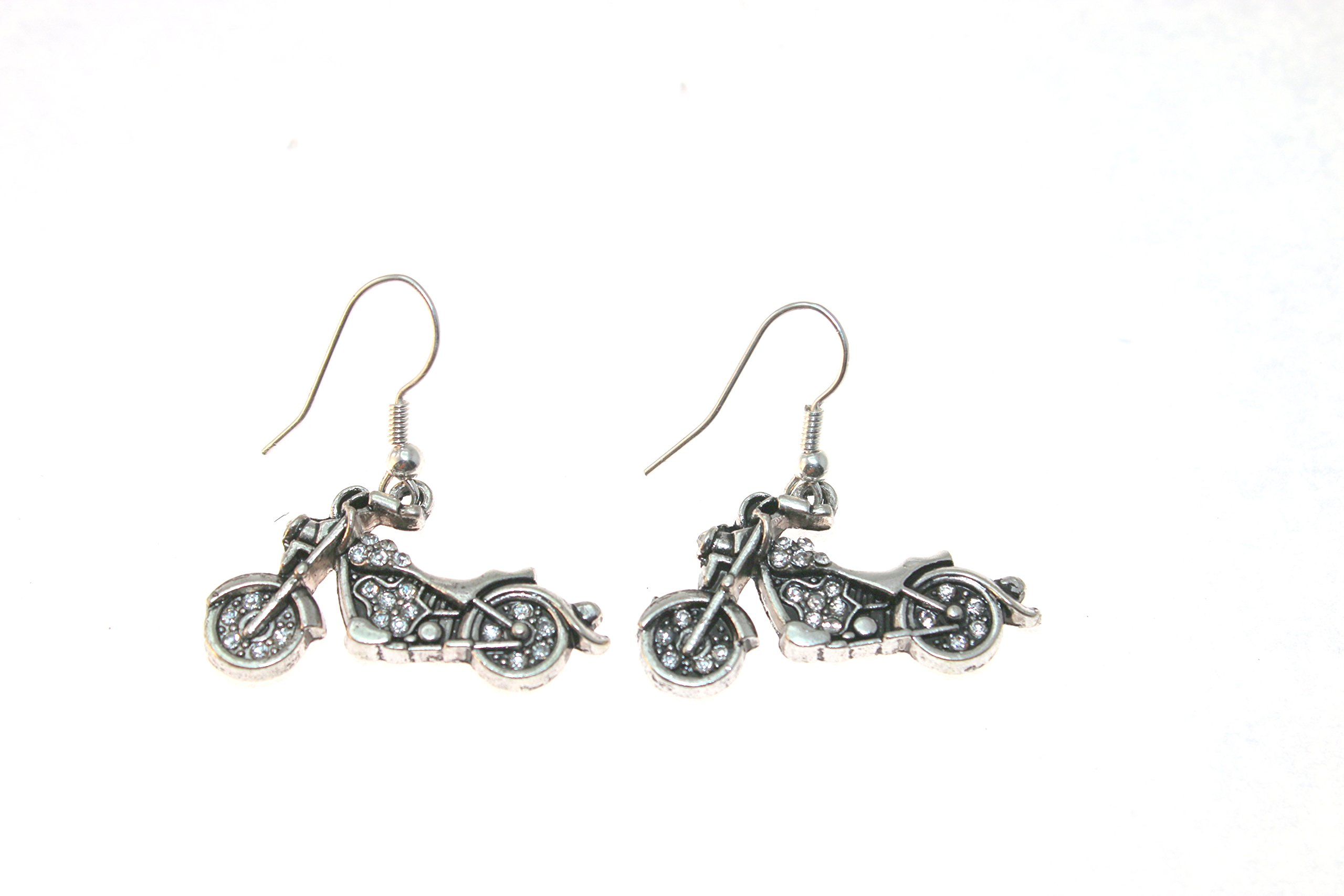MOTORCYCLE Earrings are Embellished in Clear Crystal Rhinestones. Perfect Gift for the Woman in your Life who Loves Motorcycles or Riding on Yours:)