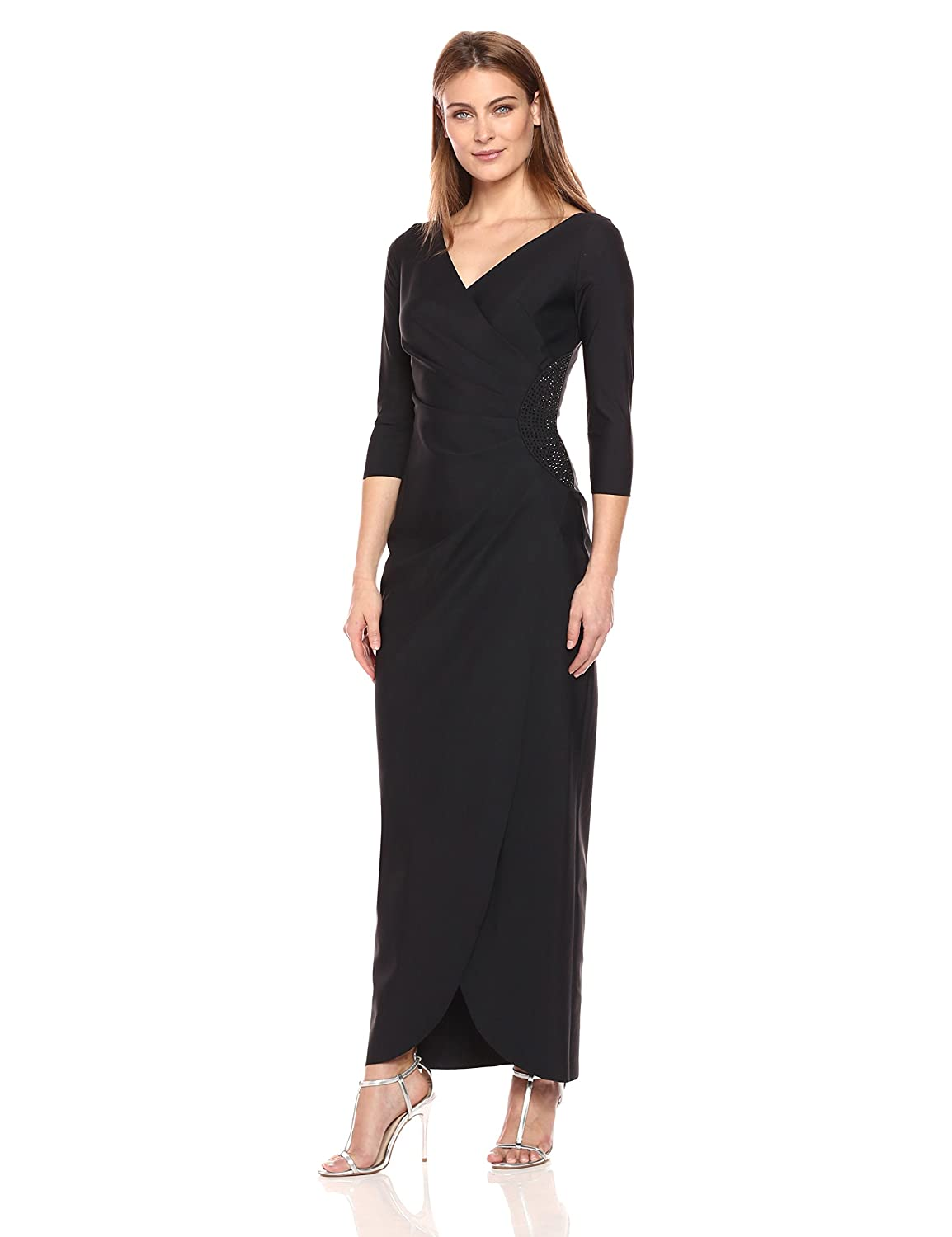 Alex Evenings Women s Long Side Ruched Dress with Embellishment at