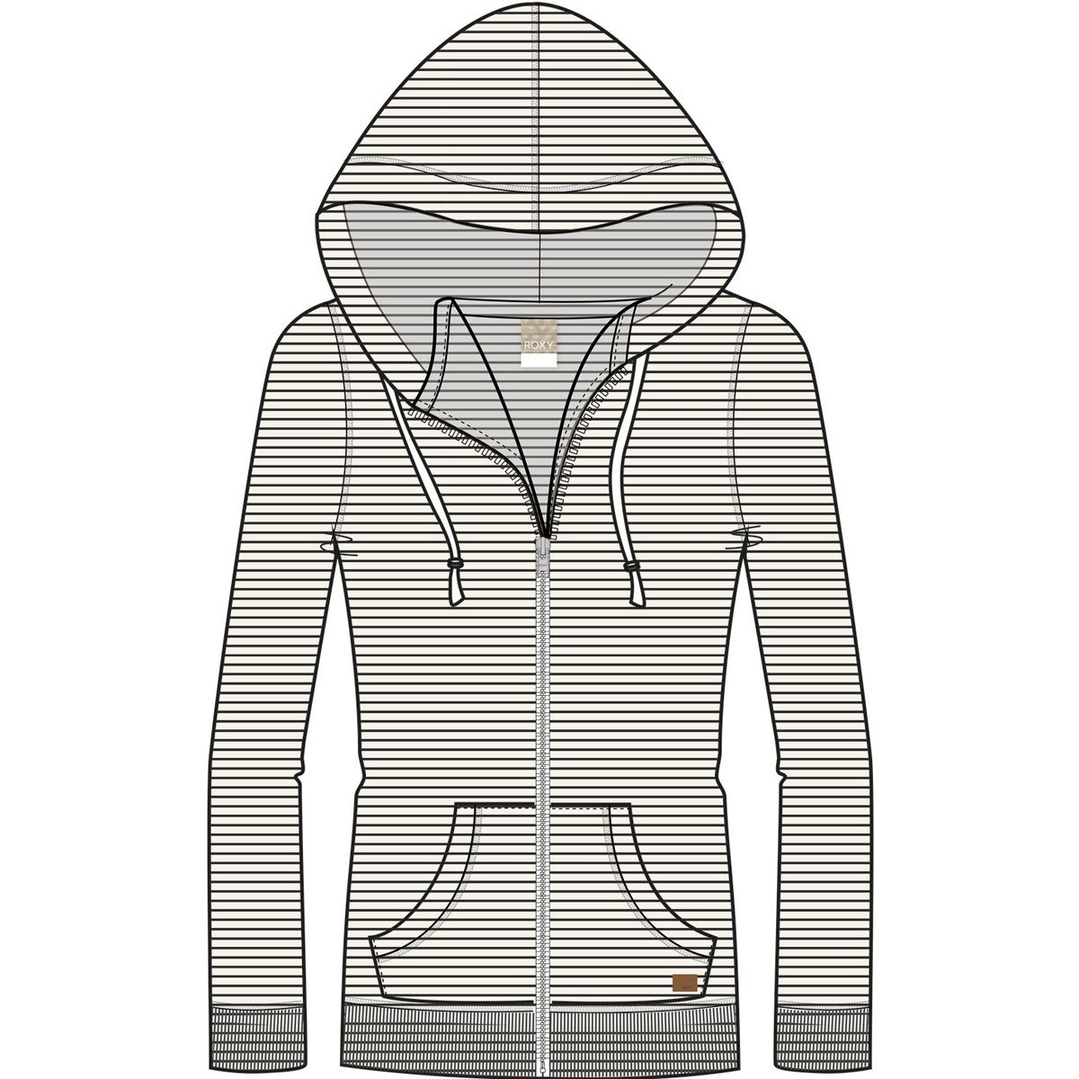Roxy Junior's Trippin Zip up Fleece Sweatshirt, True Black Thin Stripes, L