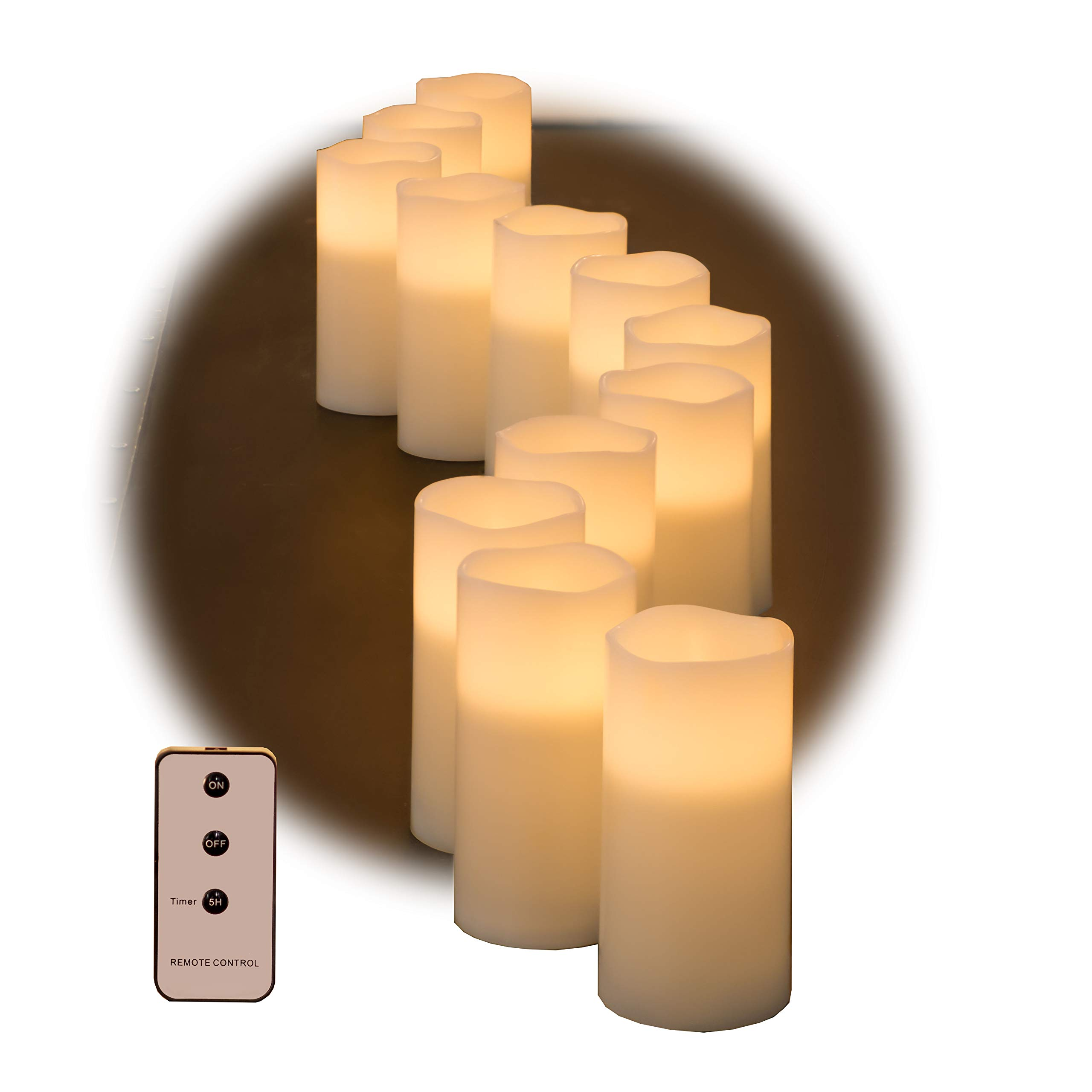 Set of Ivory Wax Remote Controlled Candles with Remote and Batteries (Ivory, 12pk)