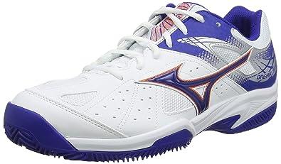 Mizuno Break Shot 2 CC, Zapatillas de Tenis para Hombre, Blanco (White/Reflex Blue/Nasturtium 27), 43 EU