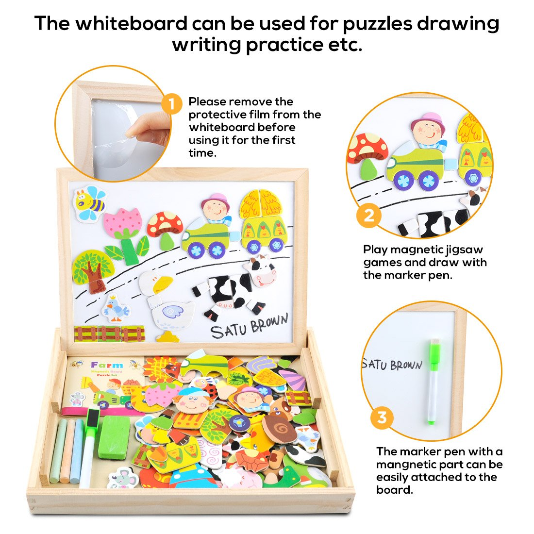 Amazon: Wooden Toy Magnetic Dry Erase Board Puzzles 100 Pieces Games,  Satu Brown Double Face Jigsaw& Drawing Easel Chalkboard Popular Educational