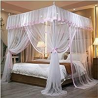 JJSCCMDZ myggnät lyxig prinsessa baldakin sänggardiner 4 hörn 3 sidoöppningar post säng gardin tak nät myggnät…