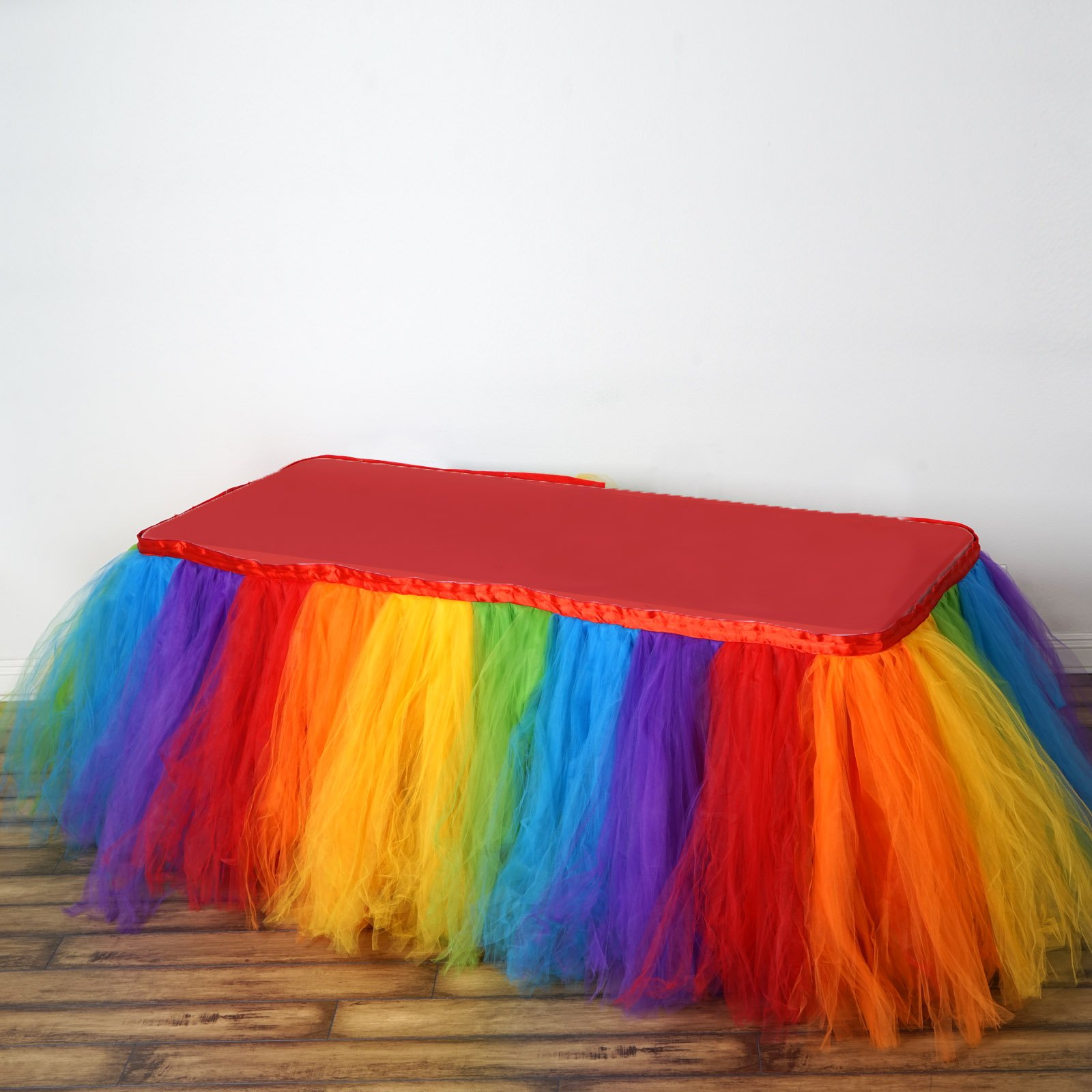 Tableclothsfactory 21ft FULL SIZE 8 Layer Fluffy Tulle - Tutu Table Skirt - Rainbow