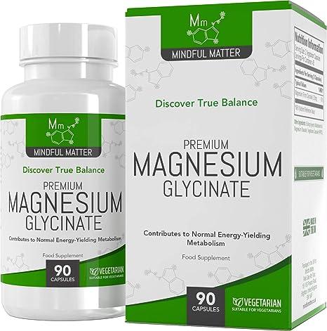 Glicinato de Magnesio 250 mg - 90 Cápsulas Vegetarianas de Mindful Matter | Altamente absorbible |