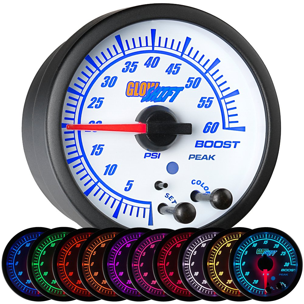 GlowShift White Elite 10 Color 60 PSI Boost Gauge Kit - Includes Electronic Pressure Sensor - White Dial - Clear Lens - Peak Recall Function - For Diesel Trucks - 2-1/16' 52mm GlowShift Gauges GS-EWT01_60