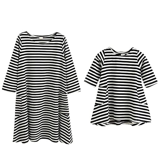 a54e853456 Gsha Spring Style Long Sleeve Family Dresses Mother and Daughter Striped  Dress Family Matching Outfits at Amazon Women's Clothing store:
