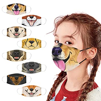 8 Pcs Funny Dog Printed Kids Children_Face_Mask_Novelty Face Bandanas Reusable Washable Breathable for Cycling (A)
