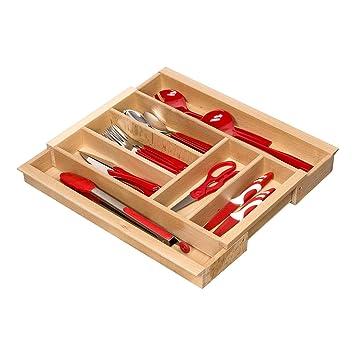 Cubertero de Madera Haya Extensible para Cajónes de Ancho 40 - 60 cm por ejemplo para cucinas Nobilia desde el año 2013 con 5 - 7 compartimentos ORGA-BOX ...