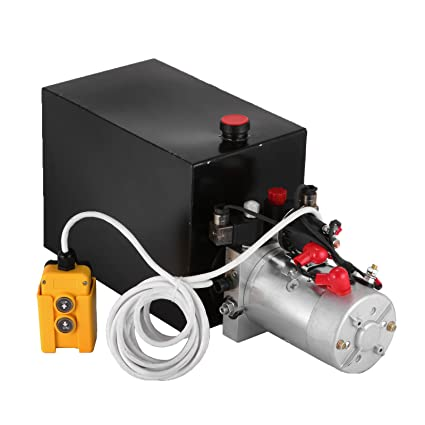 bestequip 12v hydraulic pump 15 quart metal reservoir hydraulic power unit  double acting electric dump trailer