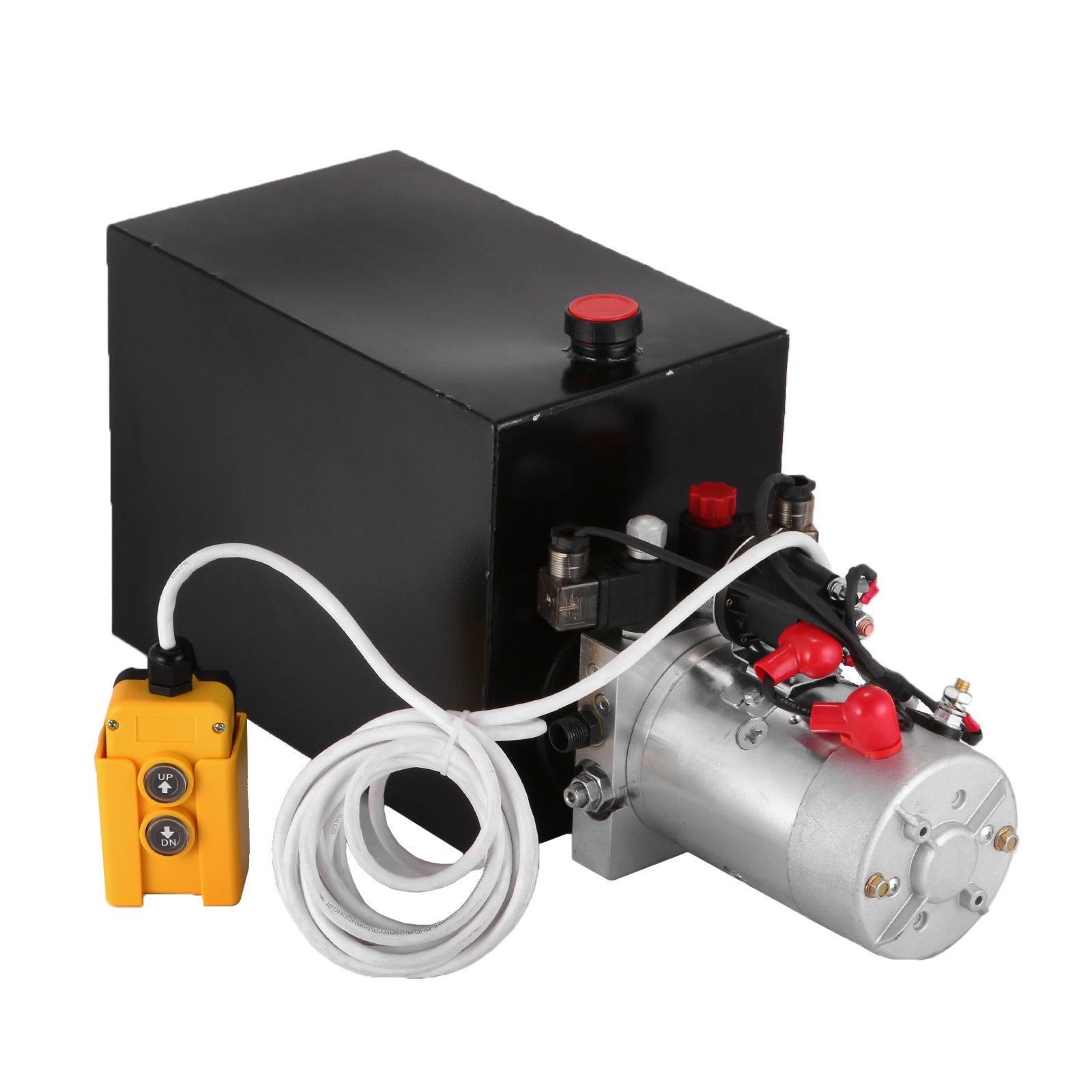 BestEquip 12V Hydraulic Pump 15 Quart Metal Reservoir Hydraulic Power Unit Double Acting Electric Dump Trailer Pump for Dump Trailers (15 Quart Double Acting)