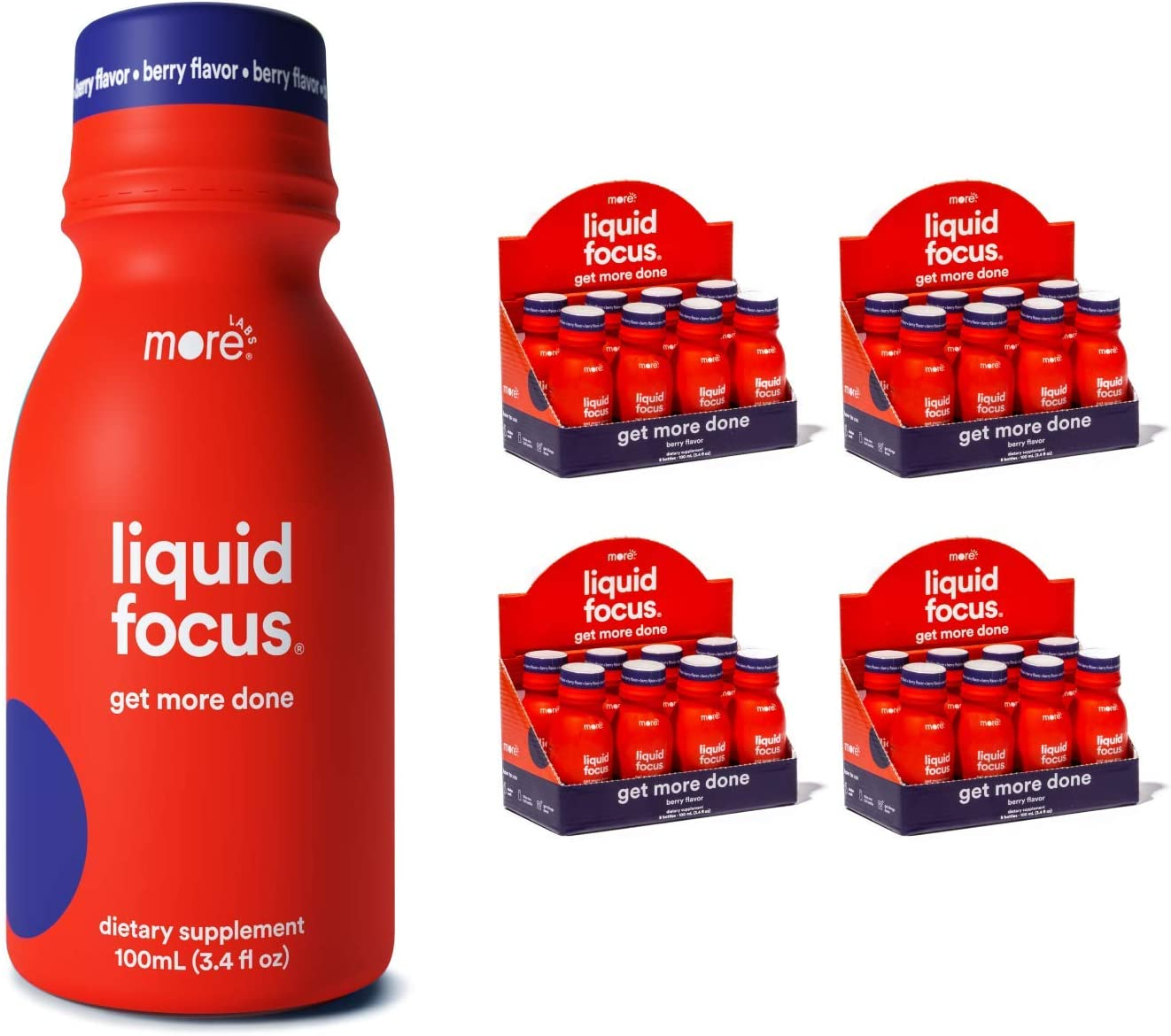 Liquid Focus by More Labs: Nootropic Energy Shot - Clinically-Proven Ingredients - Powerful Antioxidants & Adaptogenic Herbs - 150mg Caffeine - Berry Flavor - Vegan - Gluten Free (Pack of 32)