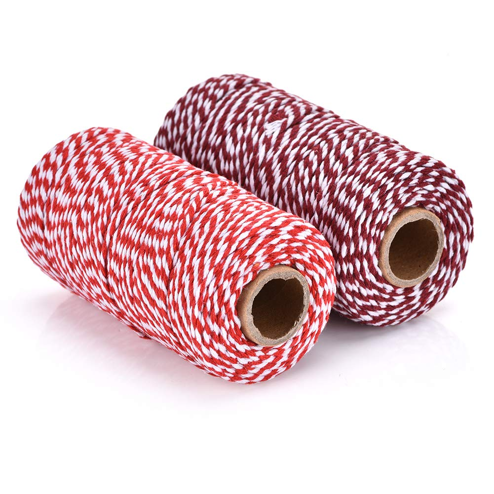 2 Rolls Red and White Bakers Twine Decorative Bakers Twine for DIY Crafts and Gift Wrapping Bonus with 14 Pcs Christmas Cards SEFONE 328 Ft 100/% Cotton Crafts Christmas Holiday Twine