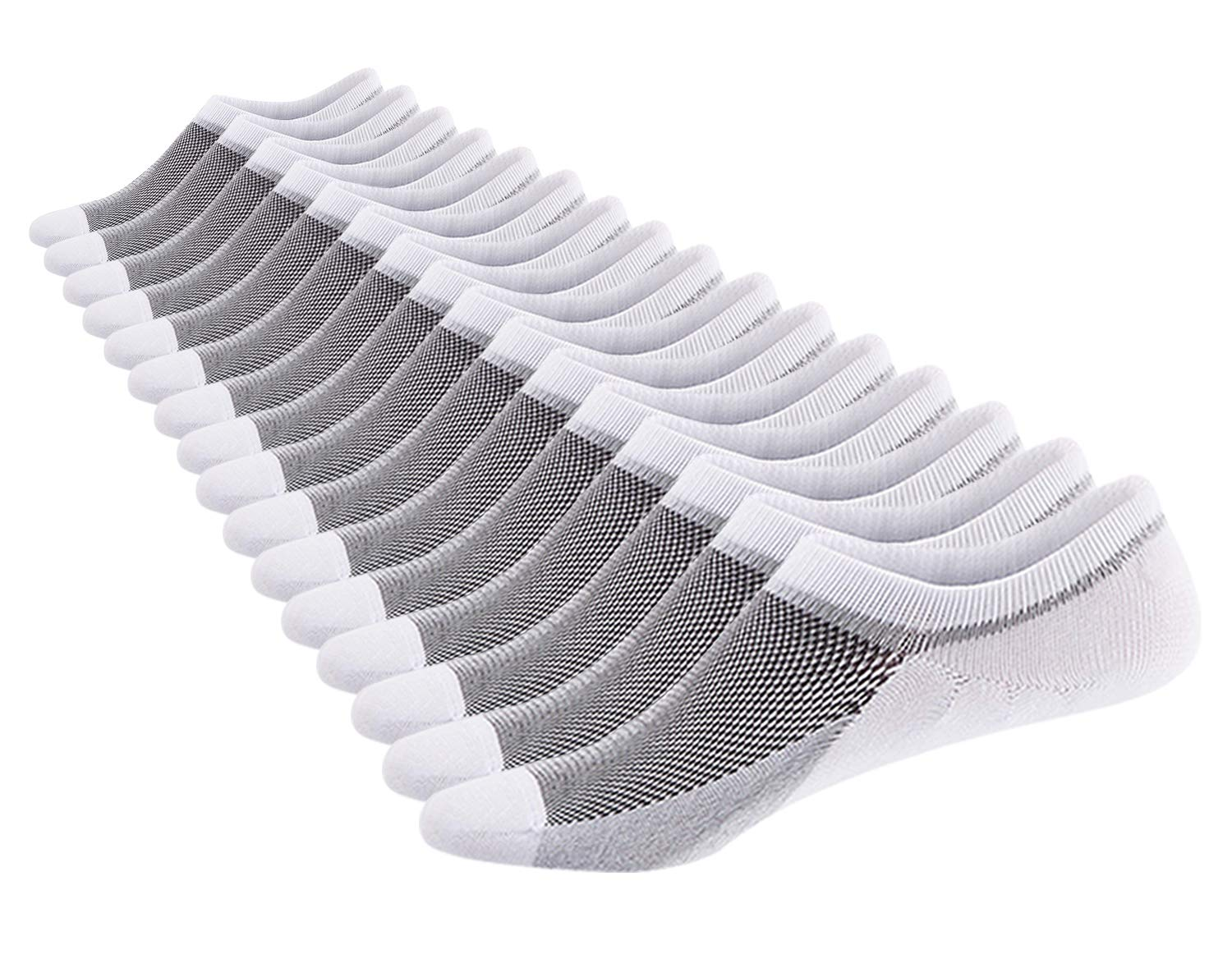 SIXDAYSOX Men\'s No Show Socks Cotton Non Slip Low Cut Ankle Invisible Socks Mesh Knit Shoe Size 6-11 Sock Size 10-13 Pack of 8 White