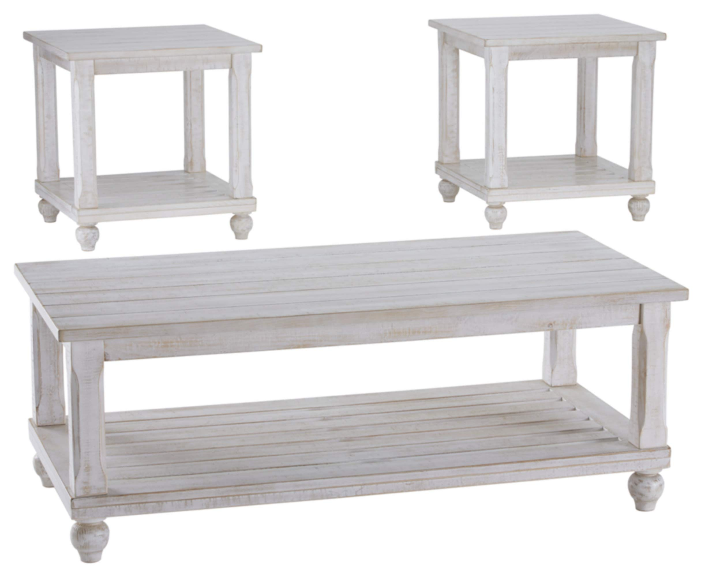 Ashley Furniture Signature Design - Cloudhurst Contemporary 3-Piece Table Set - Includes Cocktail Table & Two End Tables - White by Signature Design by Ashley