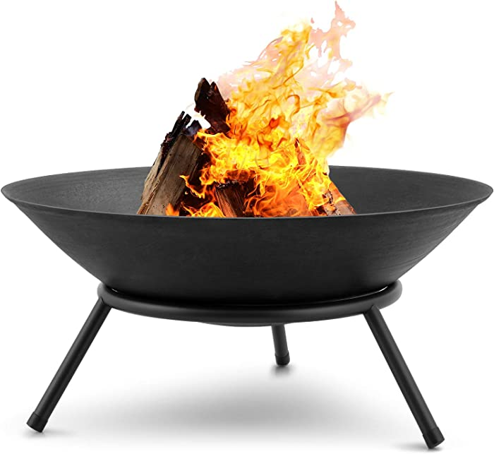 Amagabeli Fire Pit Outdoor Wood Burning 22.6in Cast Iron Firebowl Fireplace Heater Log Charcoal Burner Extra Deep Large Round Camping Outside Patio Backyard Deck Heavy Duty Metal Grate Black