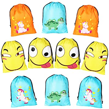 unomor party drawstring bags cartoon design 10 pack party favours