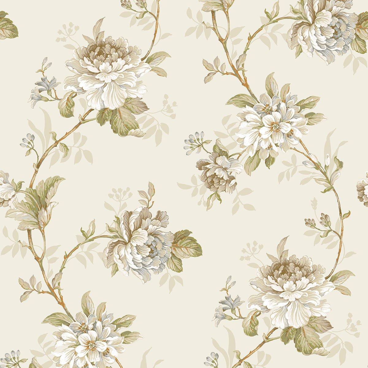 DansLemur 622-4 - Papel pintado TNT con flor rameada, color beige ICH SL