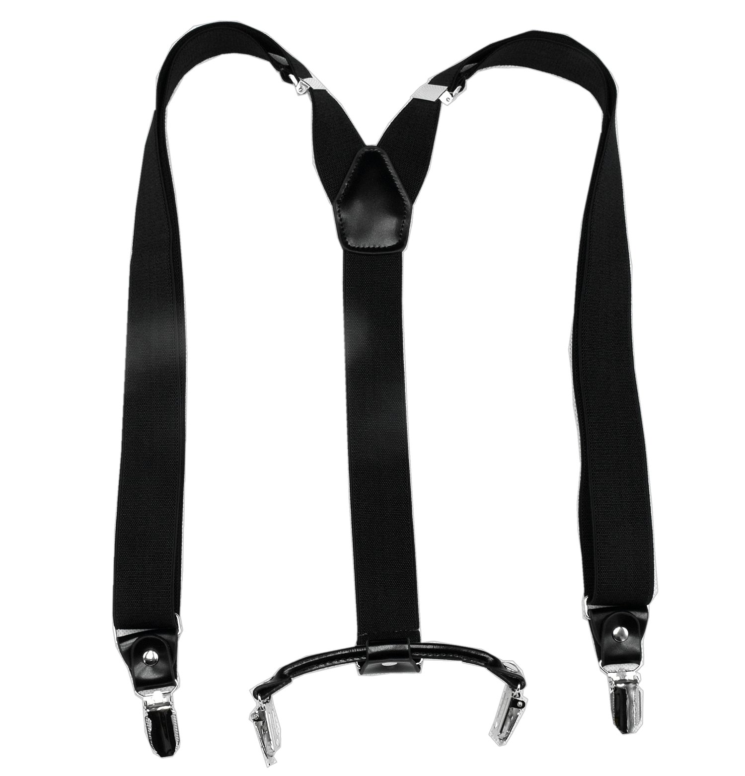 Men\'s Suspenders 30mm Y-Shape with 4 no-Slip Clips and Genuine Leather (Black, 3 cm Width) (Black, 30mm)