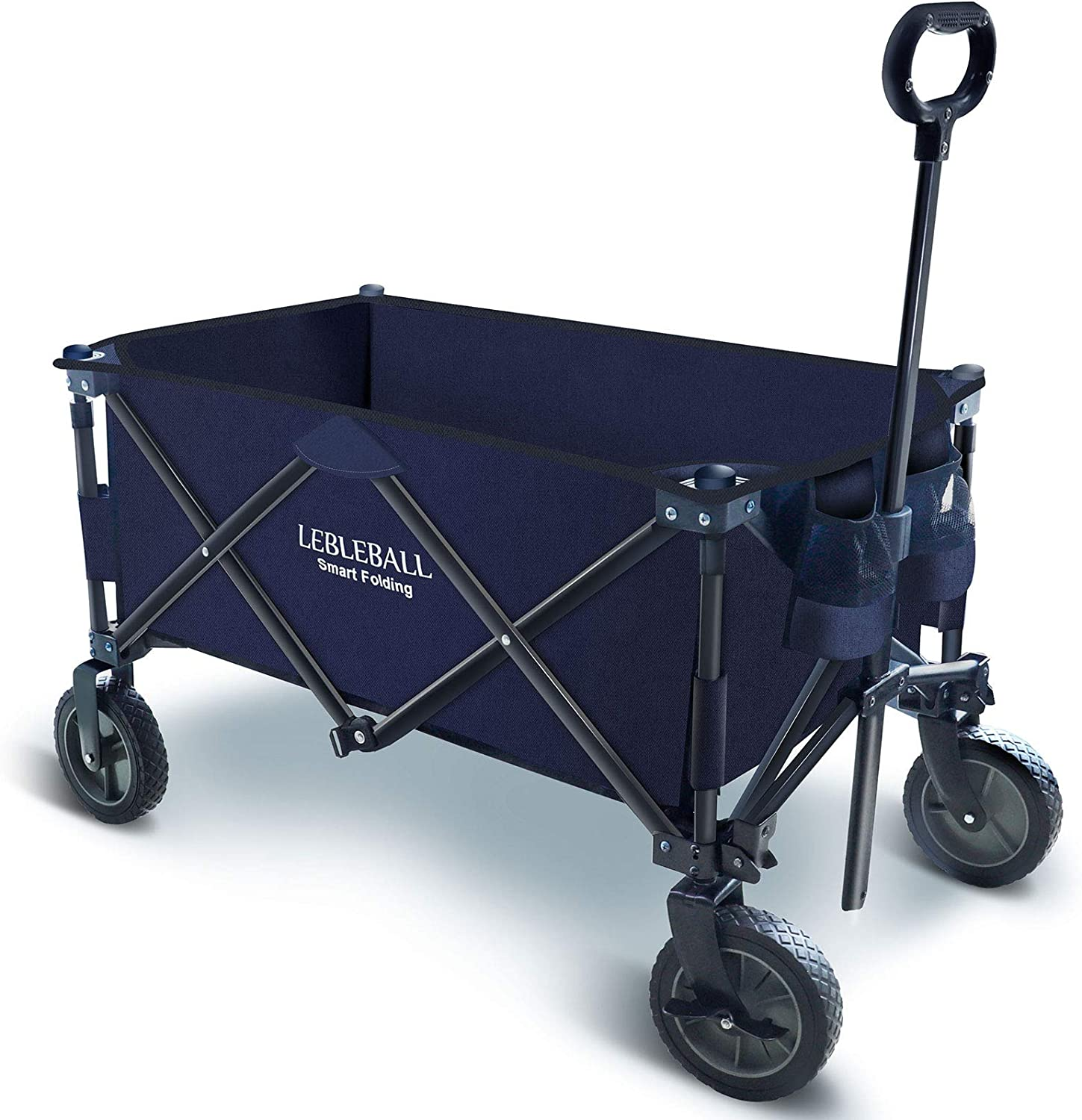 LEBLEBALL Folding Outdoor Utility Wagon Quick Set- Up Heavy Duty Garden Cart Collapsible Wagon Cart with Storage Bags Beach Wagon with Wheels Brake for Camping Garden Beach Picnic, Navy Blue