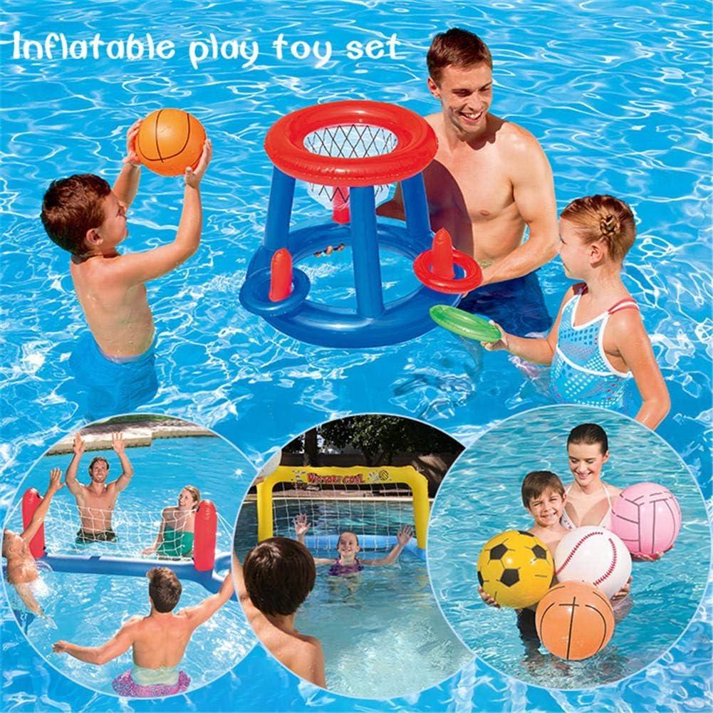 Juego de juguetes para piscina, balón de baloncesto y lanzamiento de anillos, hinchable, con red de voleibol y pelotas, flotante, agua, voleibol, piscina, juguete, para exteriores, para niños E: Amazon.es: Bebé