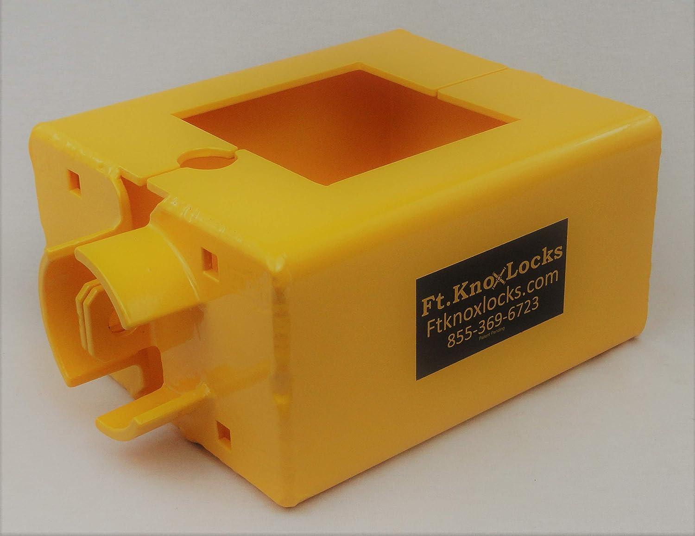 Boltcutter-proof yellow gooseneck trailer lock from Ft. Knox Locks