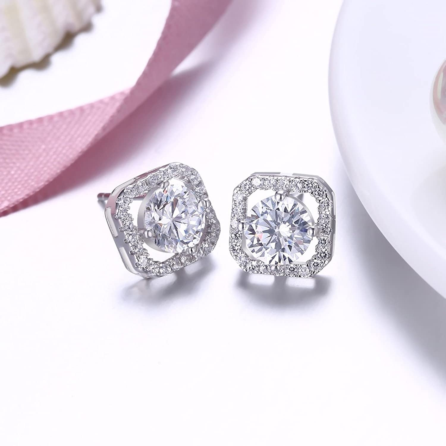 Beydodo 925 Earrings Studs for Women Hypoallergenic Earrings Stud Womens Zirconia Round Cubic Zirconia