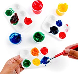 "12 Pack Artist Paint Palettes 6 Color Slot Trays for Watercolor, Acrylic, Oil Paints 5"" x 3.5"""