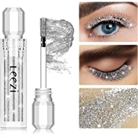 Glitter 4D Lash Mascara, Waterproof and Long Lasting, Thickening and Lengthening, Sparkling Diamond Shining Clear Best Top Coat Eyelash Mascara for Party, Natural & Non-Toxic (Silver)