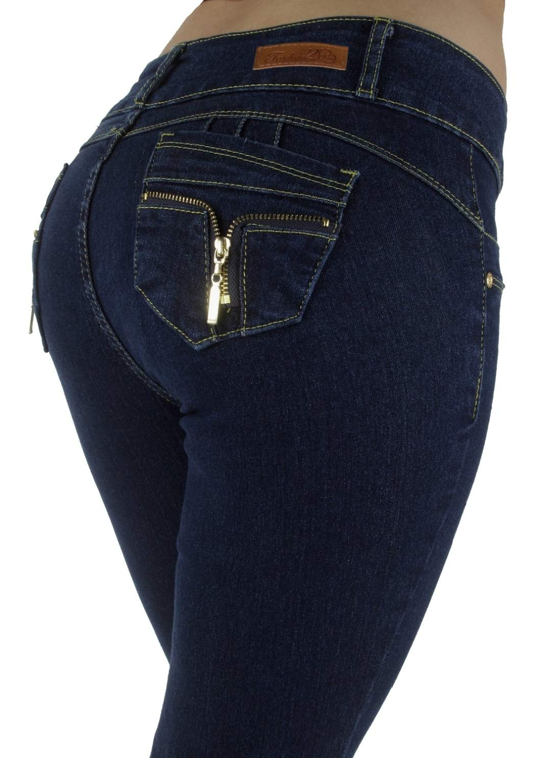 Style M947P - Plus Size, Colombian Design, Mid Waist, Butt Lift, Skinny Jeans in Dark Blue Size 22
