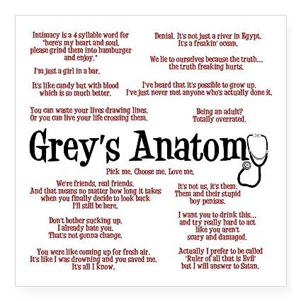 Grey's Anatomy Quotes Impressive Amazon CafePress Grey's Anatomy Quotes Square Sticker 48 X 48