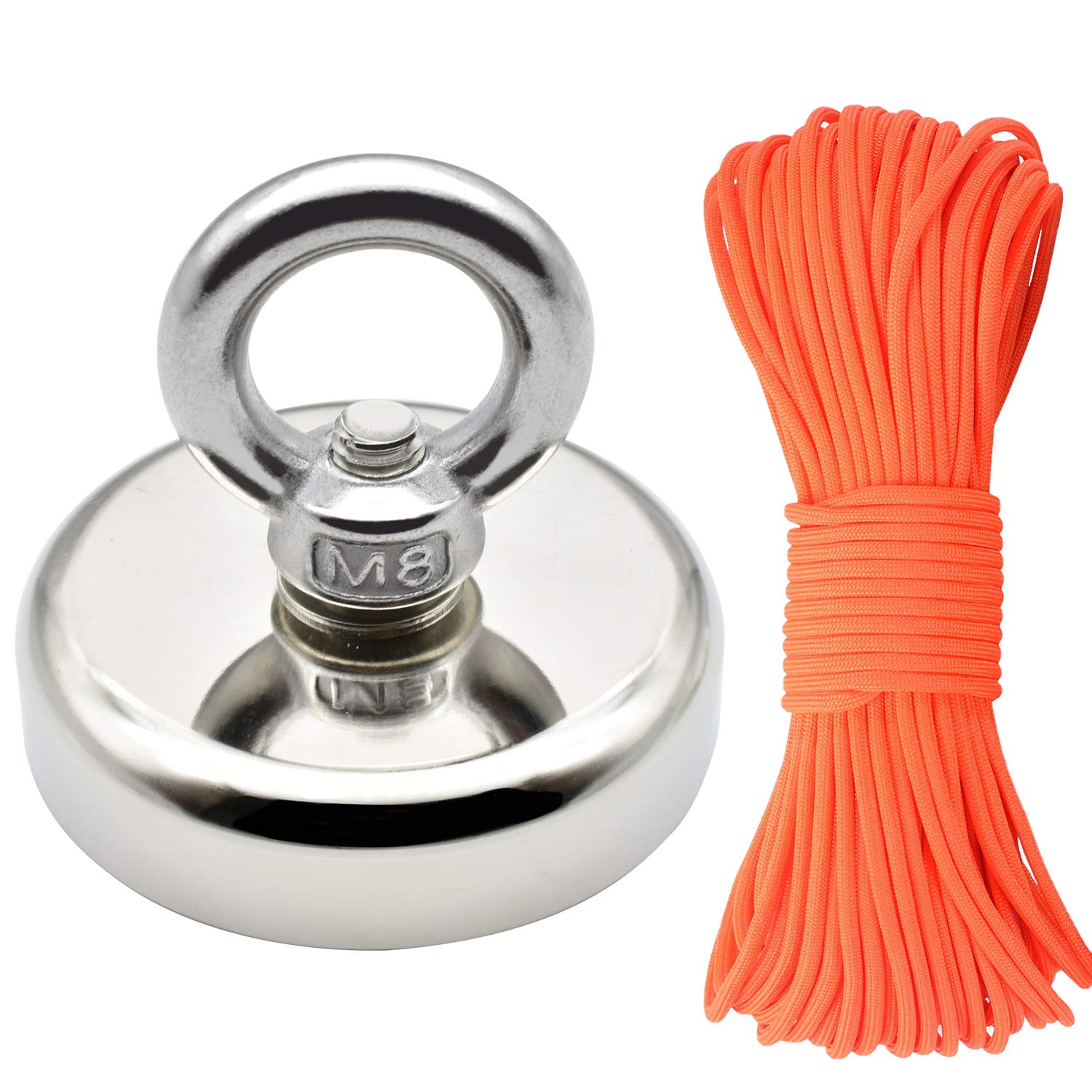 HHOOMY Super Strong Fishing Magnet, 350lbs Force Rare Earth Neodymium Magnet with Countersunk Hole and Eyebolt, Diameter 2.36 inch with 100 Feet Rope, Great for Magnetic Fishing and Salvage in River