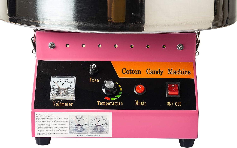 Mit Musik Und Led-licht pink Dawoo 52 cm Elektrische Zuckerwatte Maschine Marshmallow Maschine Blau Marshmallow Hersteller Kommerziellen 1080 W Geeignet F/ür Verschiedene Parteien
