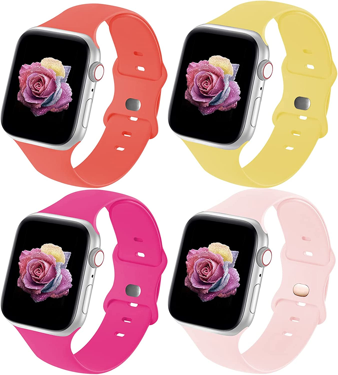 Crefort Sport Band Compatible with Apple Watch Bands 38mm 40mm 42mm 44mm for Women Men,Soft Silicone Replacement Strap Accessory Compatible for iWatch Wristband Series 6 3 5 SE 4 2 1 S/M M/L 4/7 Pack