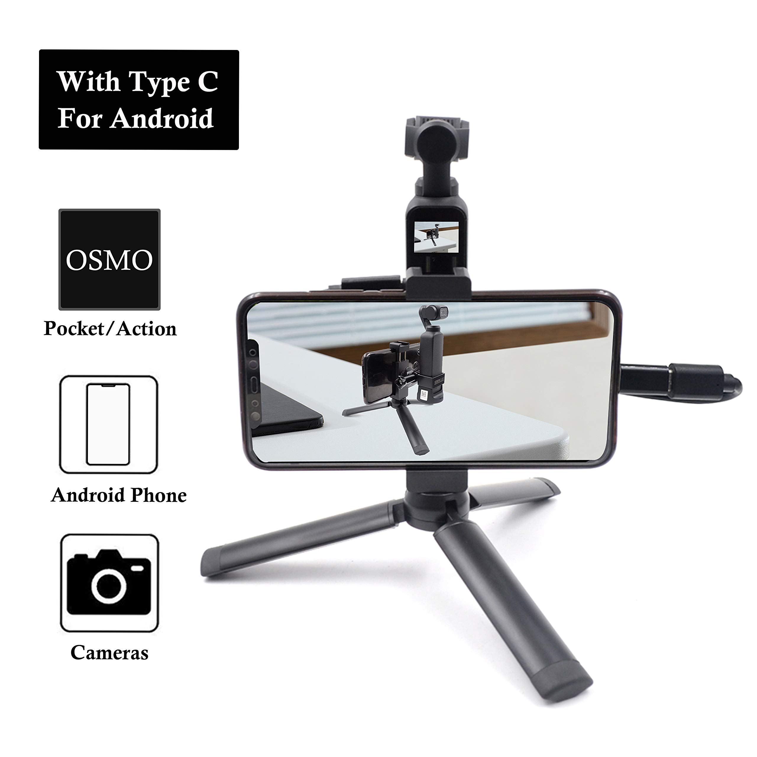 STARTRC OSMO Pocket Aluminum Handheld Mobile Phone Tripod Holder with Type C USB Cable + Micro Adapter for DJI OSMO Pocket Camera by STARTRC