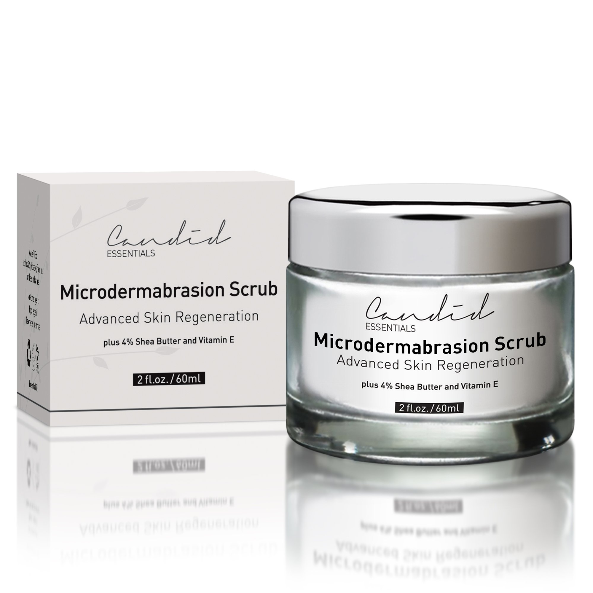 Advanced Microdermabrasion Scrub, A Natural Exfoliating Facial Scrub for Face, Hands & Neck & Décolleté, Anti Aging Skin Care, Proven to Minimize Pores, Wrinkles, Acne Scars & Remove Blackheads. by Candid Essentials
