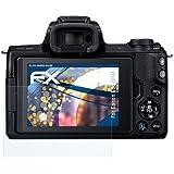 atFoliX Panzerfolie für Canon EOS M50 Folie - 3 x FX-Shock-Clear stoßabsorbierende ultraklare Displayschutzfolie