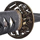 Handmade Sword - Samurai Katana Sword, Functional, Hand Forged, 1045 Carbon Steel, Heat Tempered, Full Tang, Sharp, Dragon Tsuba, Bendable Blade, Black Wooden Scabbard, Sword Certificate