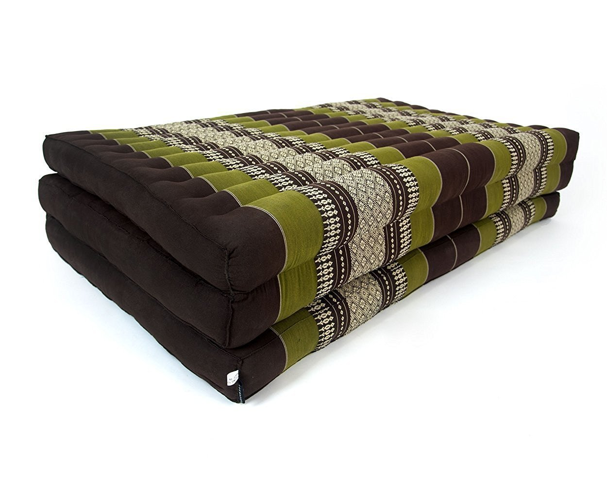 Design by UnseenThailand Thai Massage Mat, Kapok Fabric, Premium Double Stitched, 82x46x3 inches. (Brown - Green) by UnseenThailand Warehouse