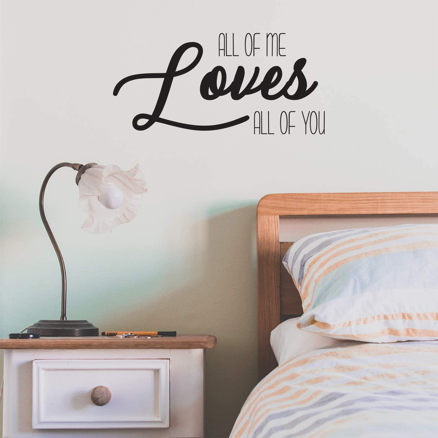 Amazon Com Husband And Wife Bedroom Vinyl Wall Art Decal All Of Me Loves All Of You 11 X 23 Inspirational Love Quote Home Decor Removable Vinyl Sticker Decals For Couples