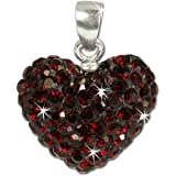 SilberDream Glitter Pendant with Cubic zirconia crystals heart deep red shiny - 925 Sterling Silver Pendant for Necklace GSH205D