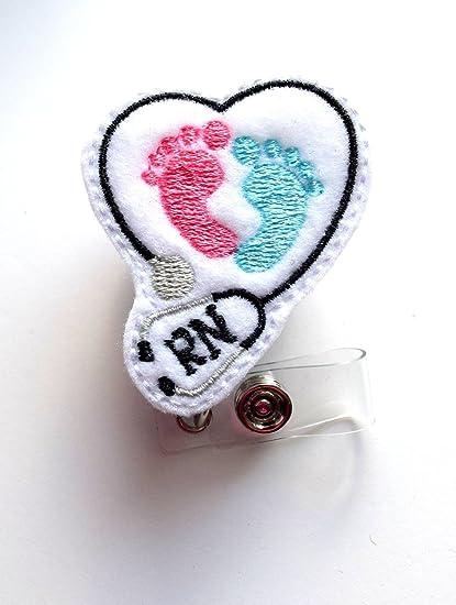 RN Heart Baby Feet - Retractable ID Badge Reel - MD Badge Holder - Cute  Badge Reel - Nurse Badge Holder - Nursing Badge Clip - Felt Badge- Belt  Slide