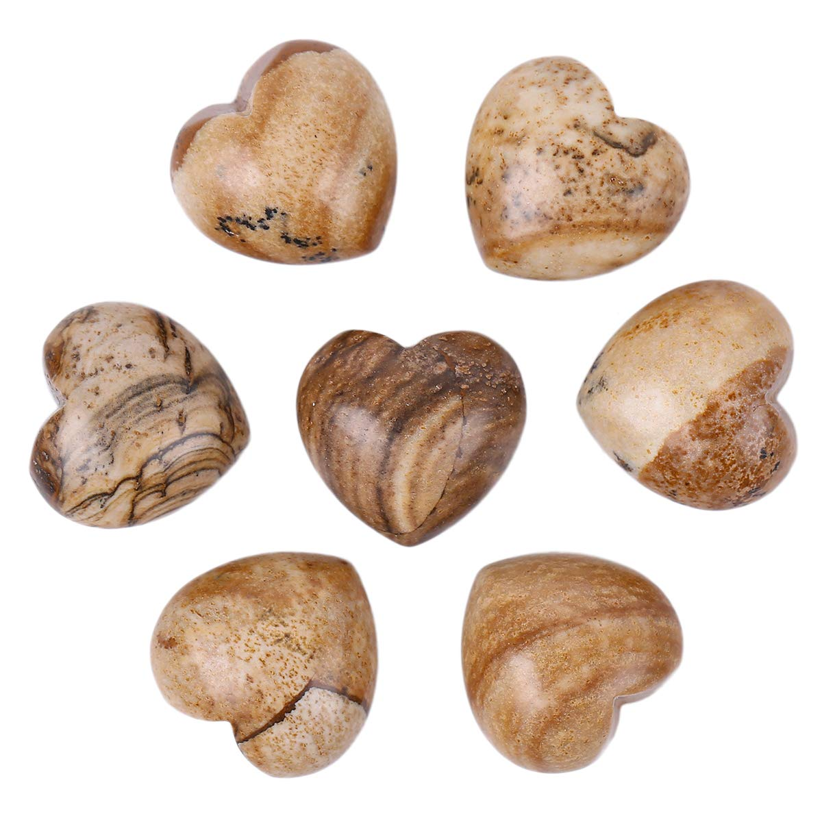 Loveliome 7 Pcs Natural Picture Jasper Carved Heart Love Pocket Stone,Healing Palm Crystal(0.6 Inch)